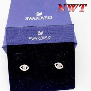 NWT-Swarovski- Silver Evil Eye Earrings